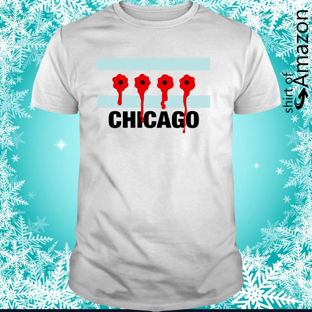 Chicago flag bullet holes shirt