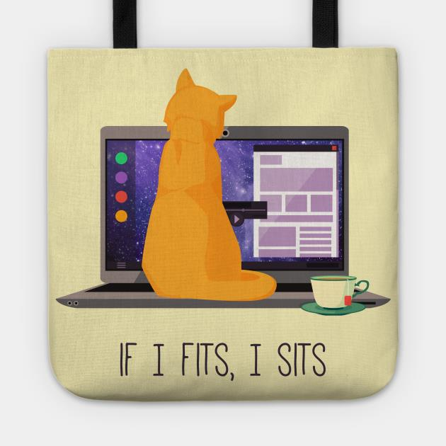 Cat if I fits I sits tote