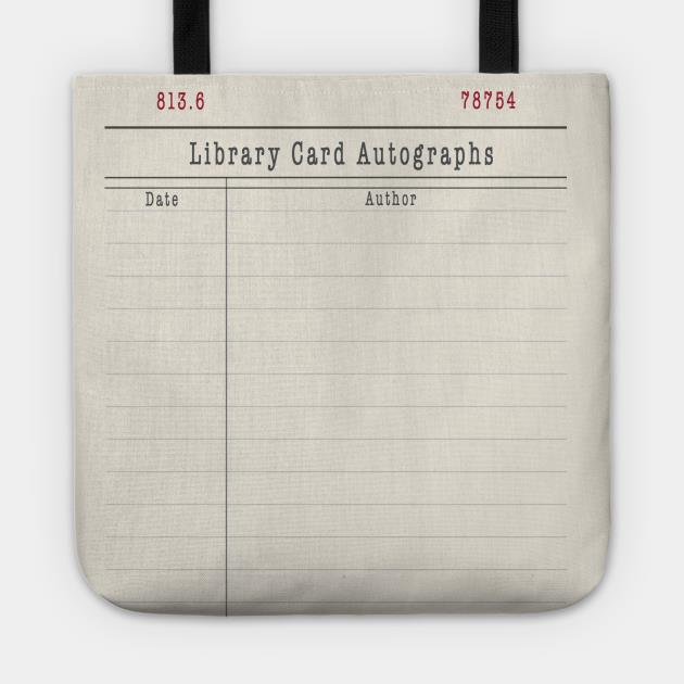 Library card autographs tote