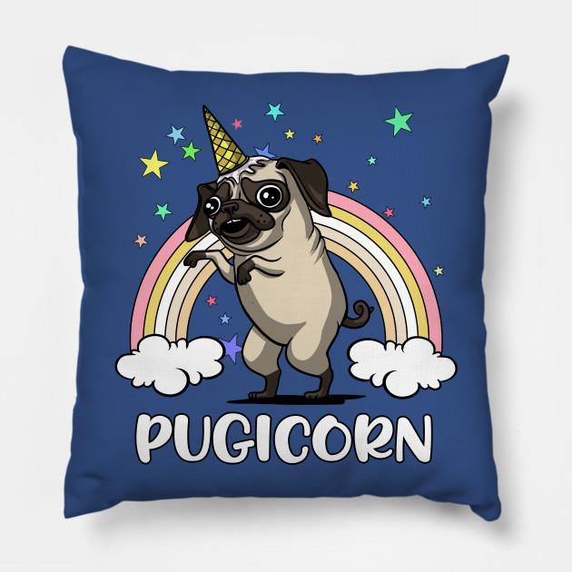 Pugicorn funny unicorn pug fantasy rainbow pillow