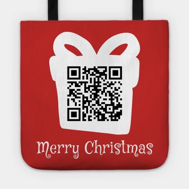 QR rick rolled Christmas tote