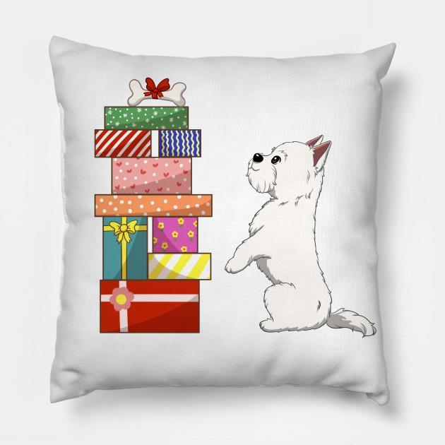Westie Bone gift Christmas pillow