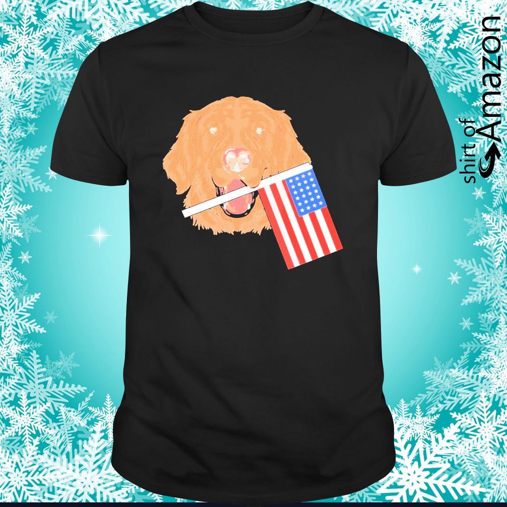 Goldern Retriever American flag 4th of July shirt