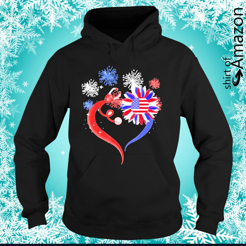 Heart sunflower stethoscope 4th of July hoodie