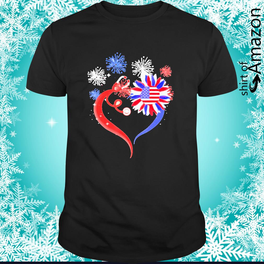 Heart sunflower stethoscope 4th of July shirt