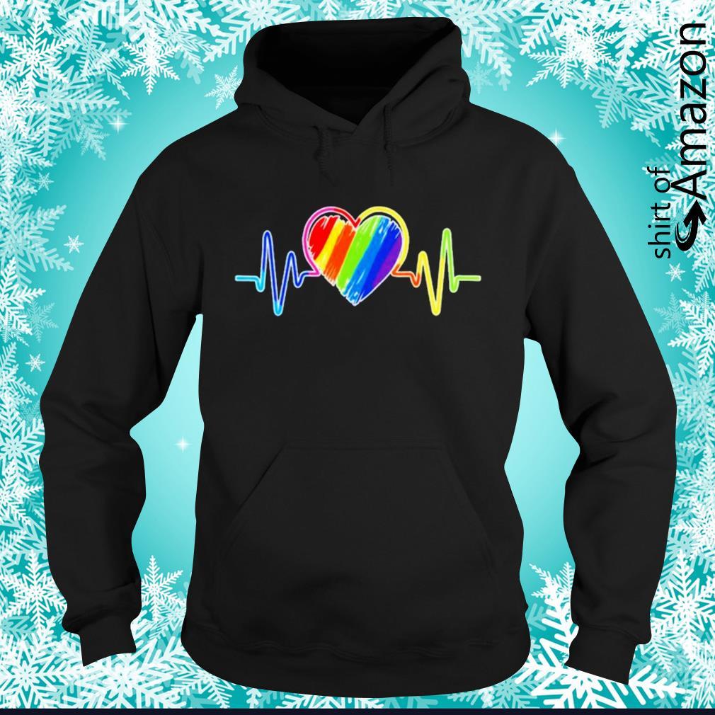Heartbeat rainbow flag LGBT hoodie