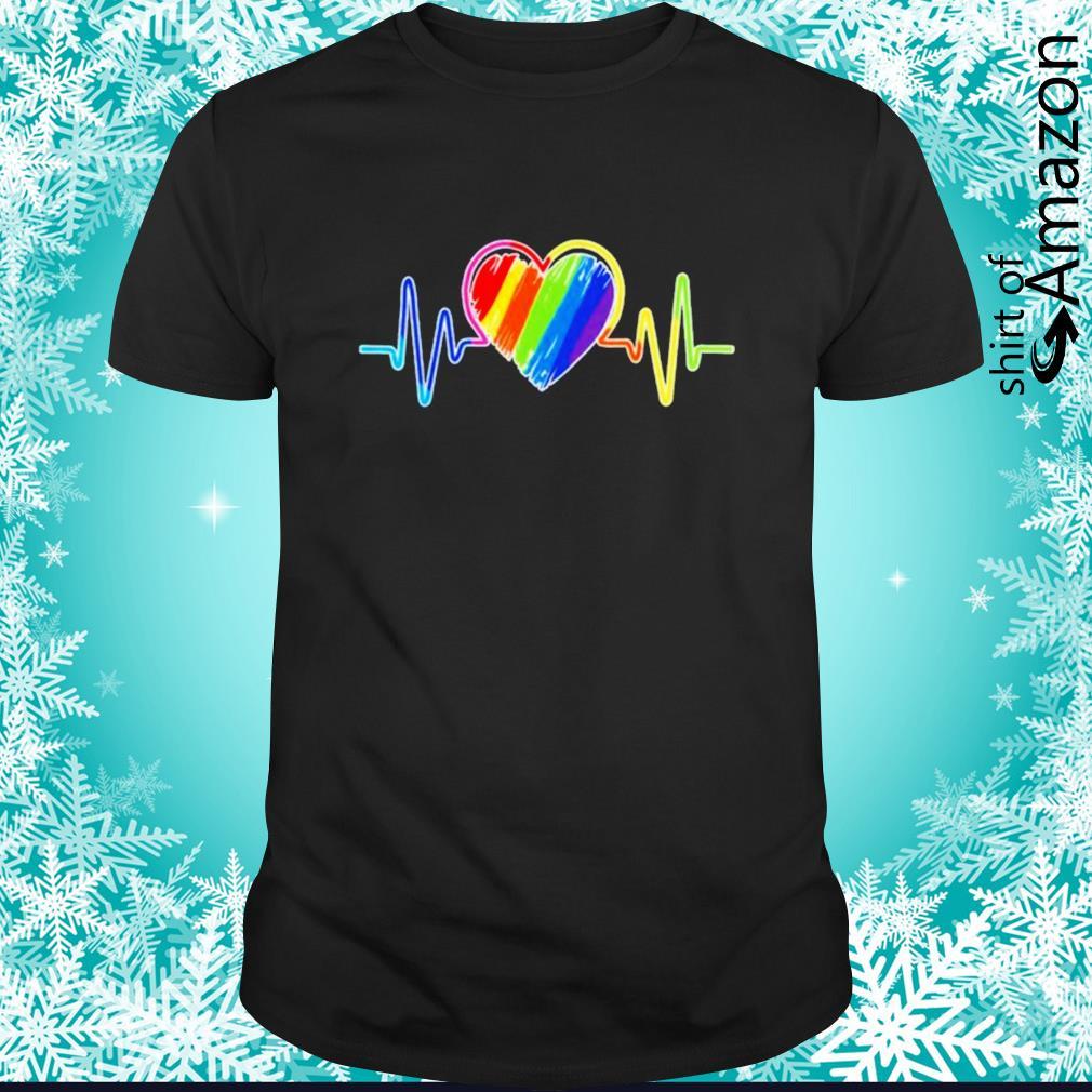 Heartbeat rainbow flag LGBT shirt