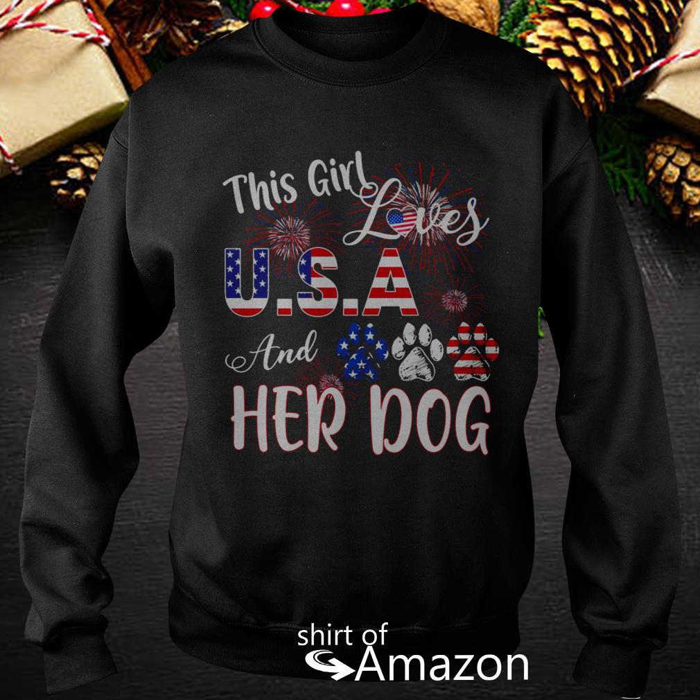 This US And Her Dog Firework Shirt, Hoodie, Sweater