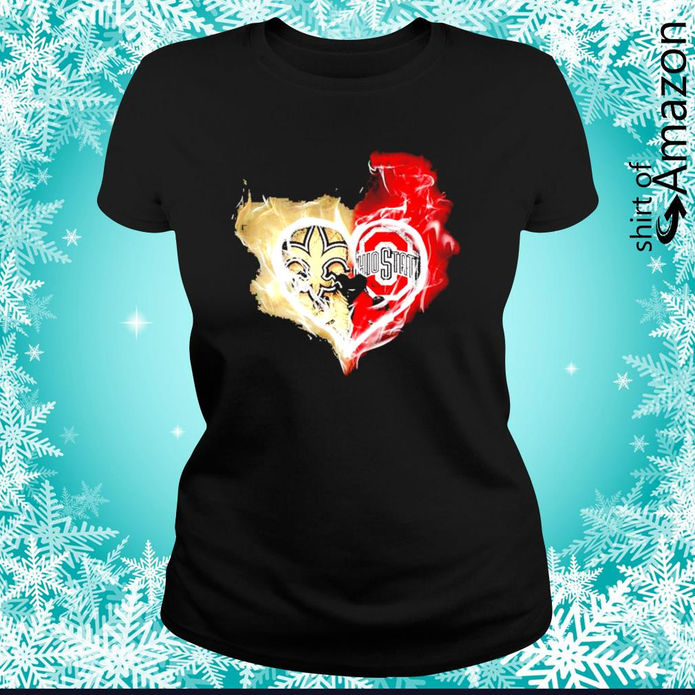 New Orleans Saints and Ohio State Buckeyes skull love s ladies-tee