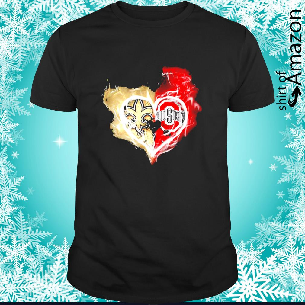New Orleans Saints and Ohio State Buckeyes skull love shirt