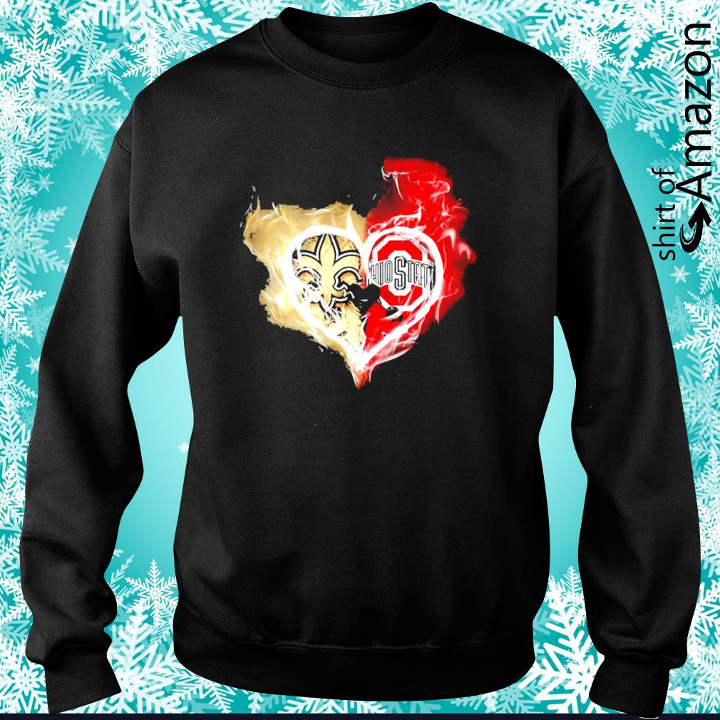 New Orleans Saints and Ohio State Buckeyes skull love s sweater