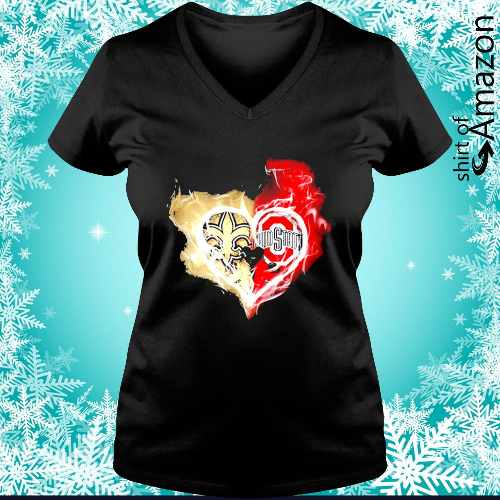 New Orleans Saints and Ohio State Buckeyes skull love s v-neck-t-shirt