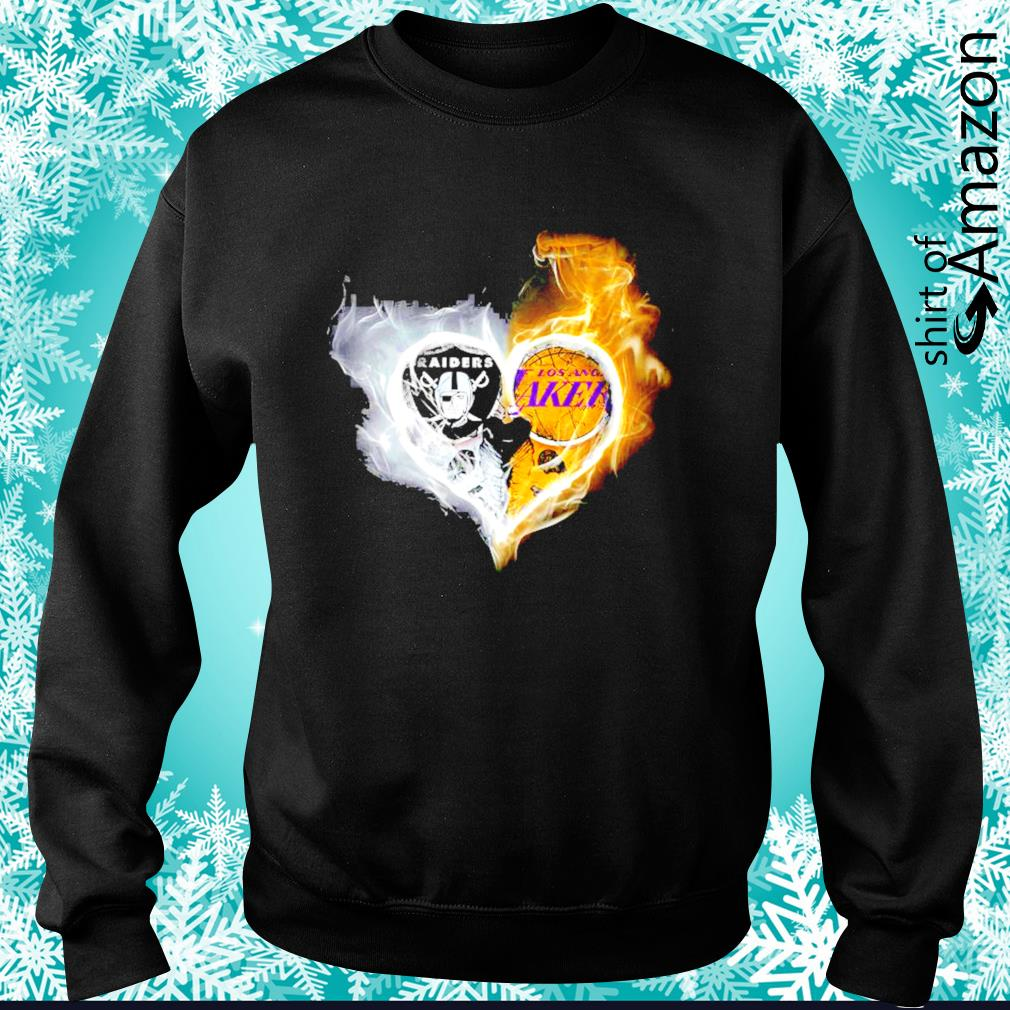 Oakland Raiders and Los Angeles Lakers skull love s sweater
