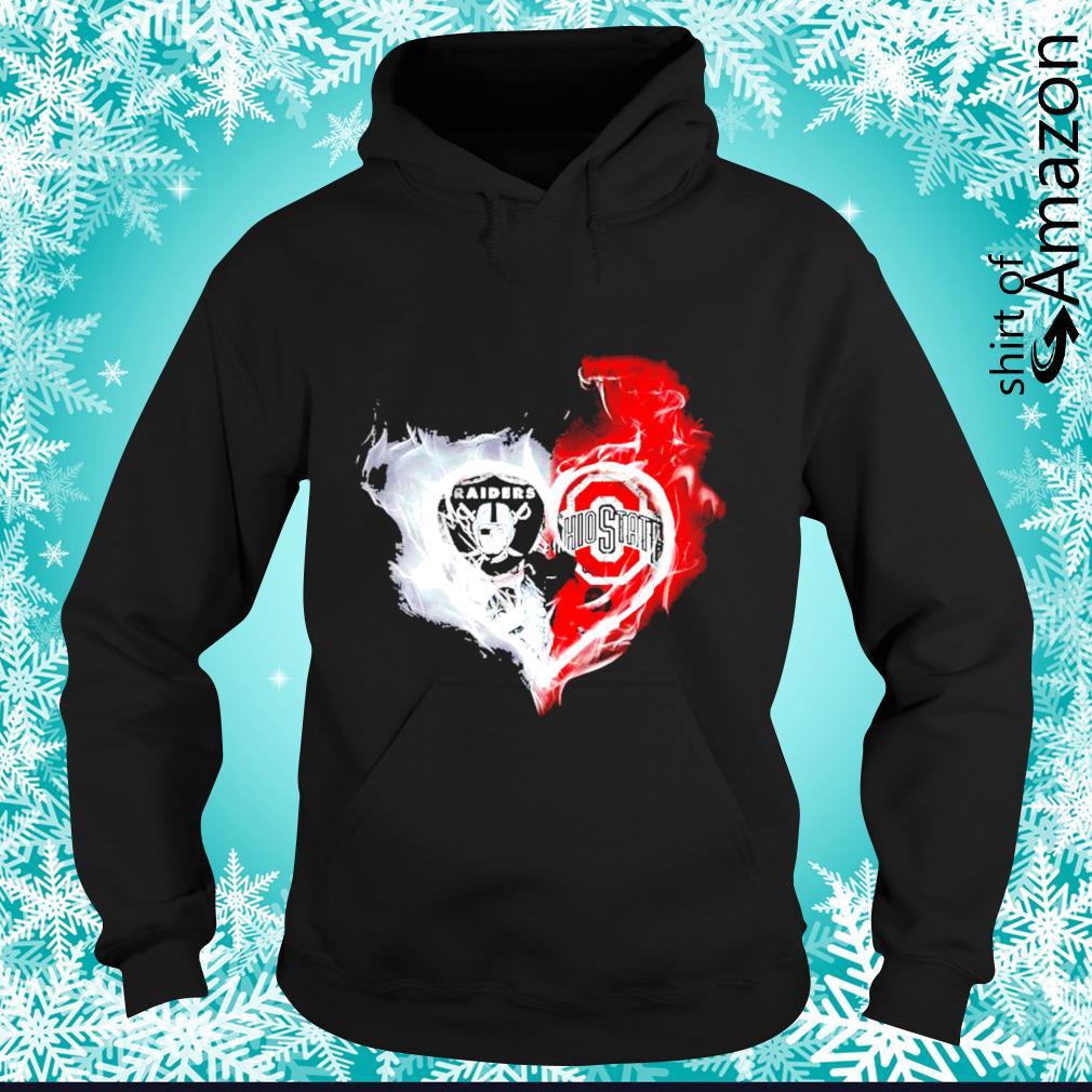 Oakland Raiders and Ohio State Buckeyes skull love s hoodie