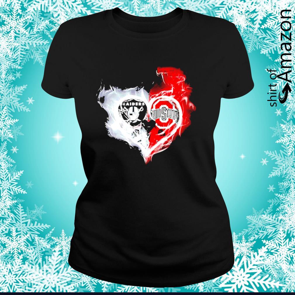 Oakland Raiders and Ohio State Buckeyes skull love s ladies-tee