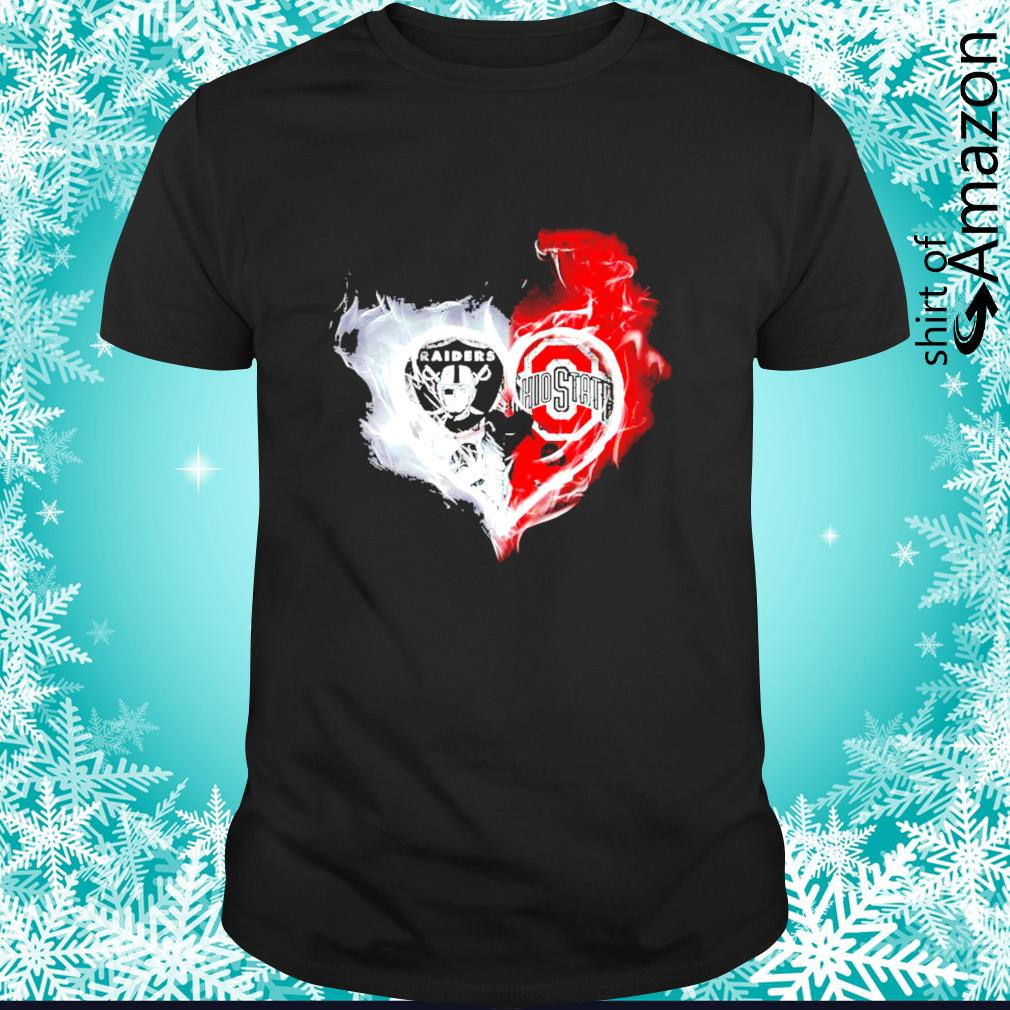 Oakland Raiders and Ohio State Buckeyes skull love shirt