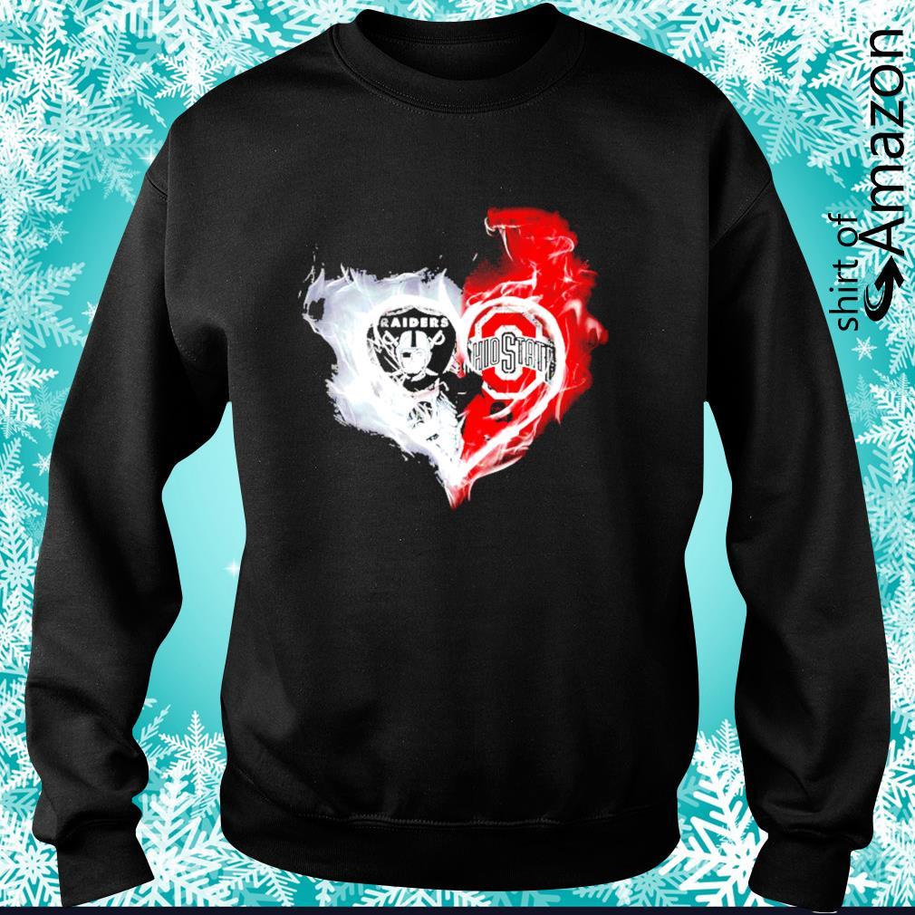 Oakland Raiders and Ohio State Buckeyes skull love s sweater