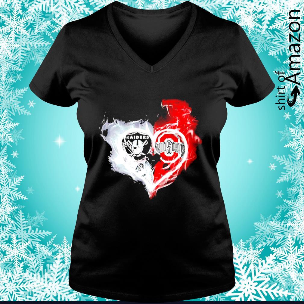 Oakland Raiders and Ohio State Buckeyes skull love s v-neck-t-shirt