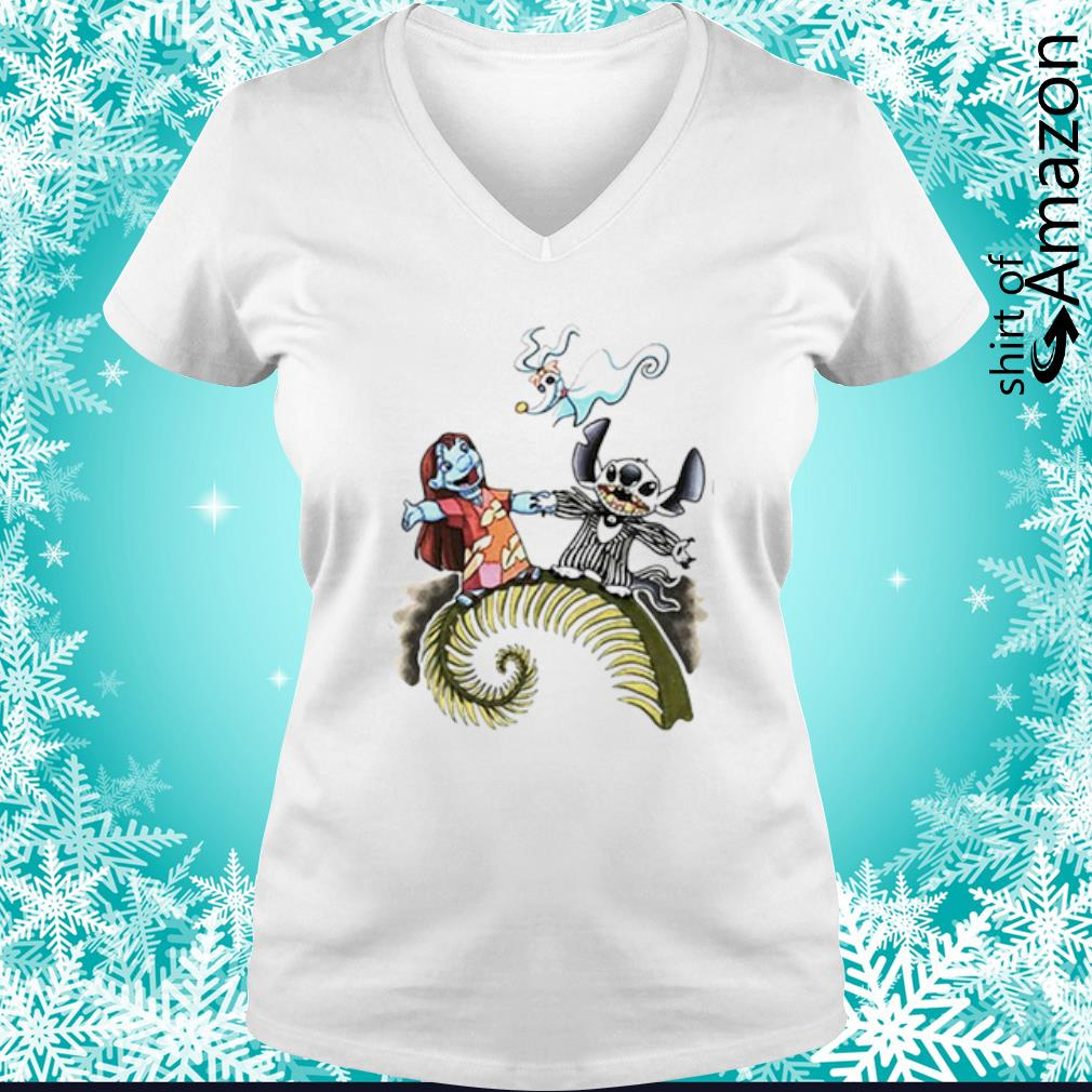 Lilo and Stitch as Jack and Sally Zero s v-neck-t-shirt