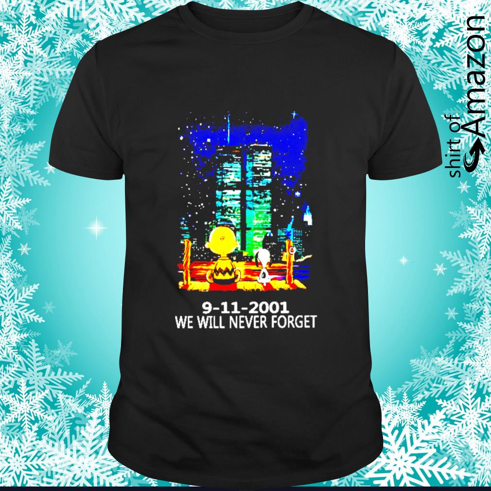 Snoopy and Charlie Brown world trade center 9 11 2001 we will never forget shirt