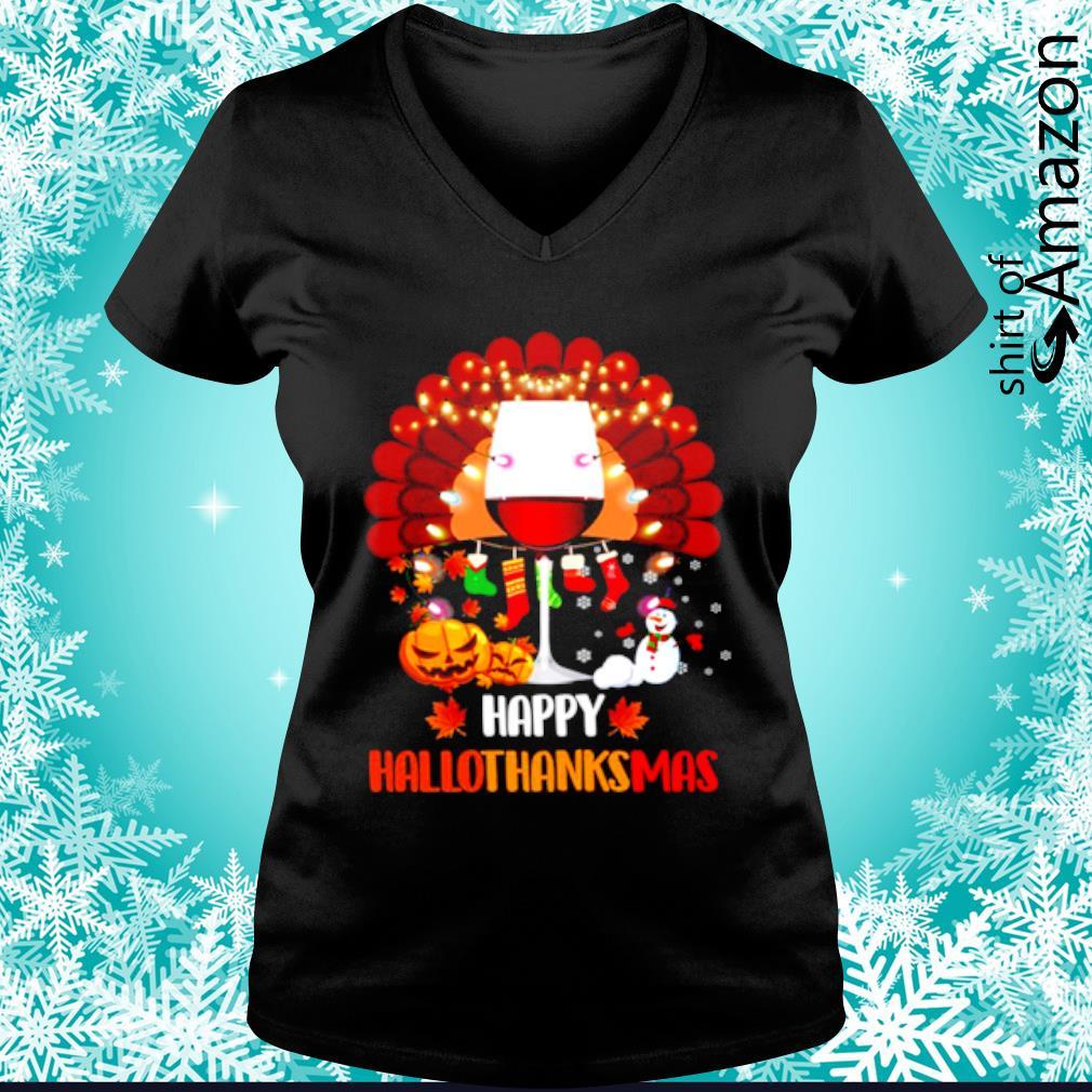Wine Turkey Happy Hallothanksmas s v-neck-t-shirt