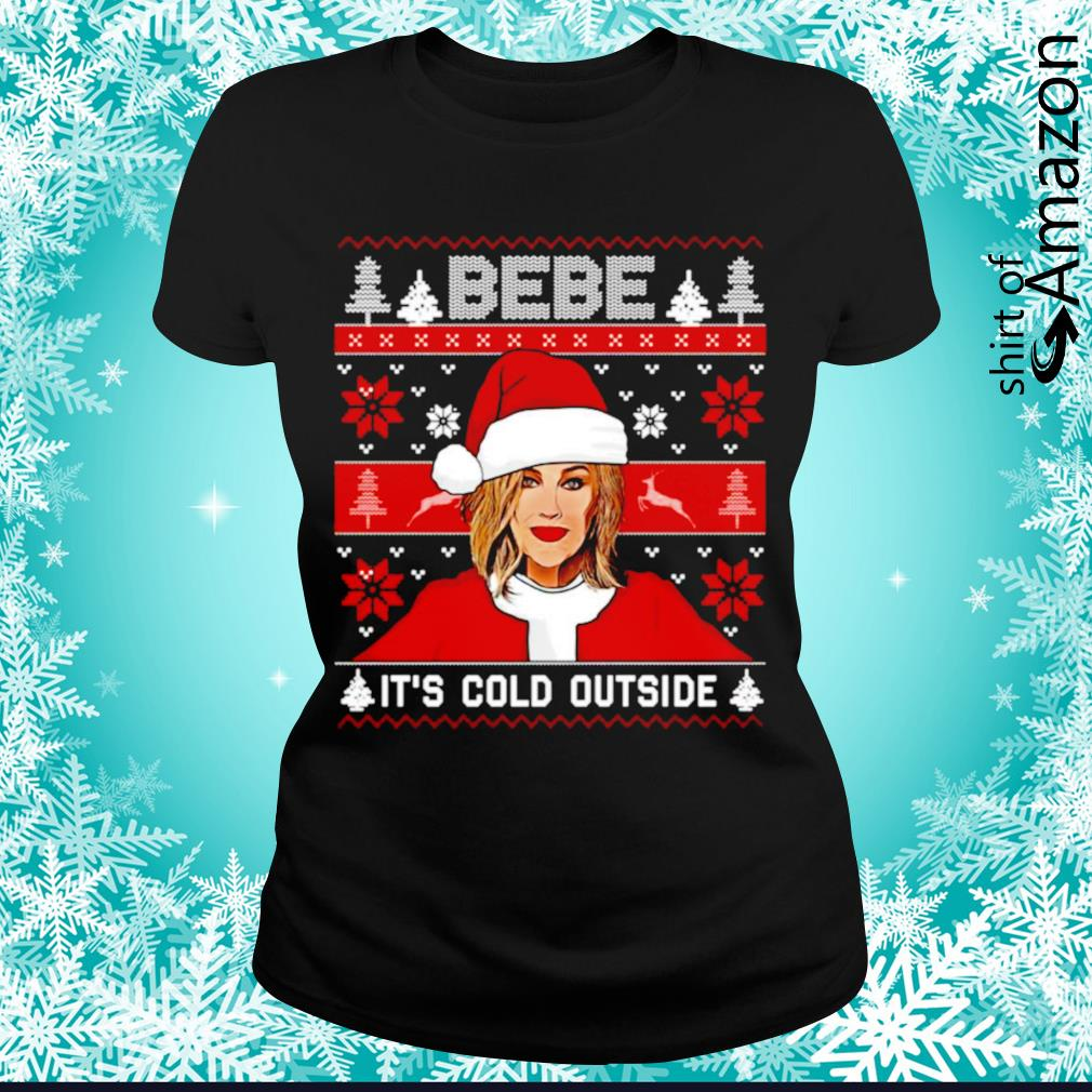 Bebe it's cold outside ugly Christmas s ladies-tee