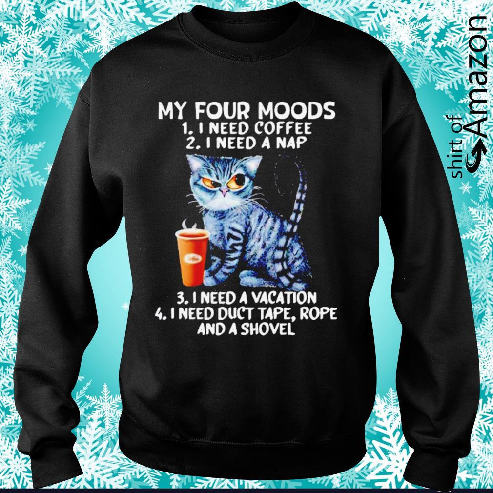 Black Cat my four moods I need coffee I need a nap I need a vacation s sweater