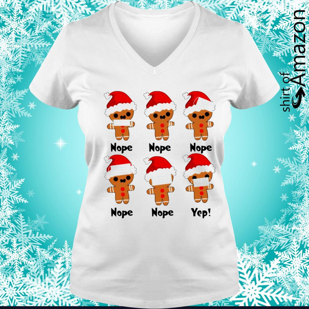 Gingerbread nope yes Christmas s v-neck-t-shirt