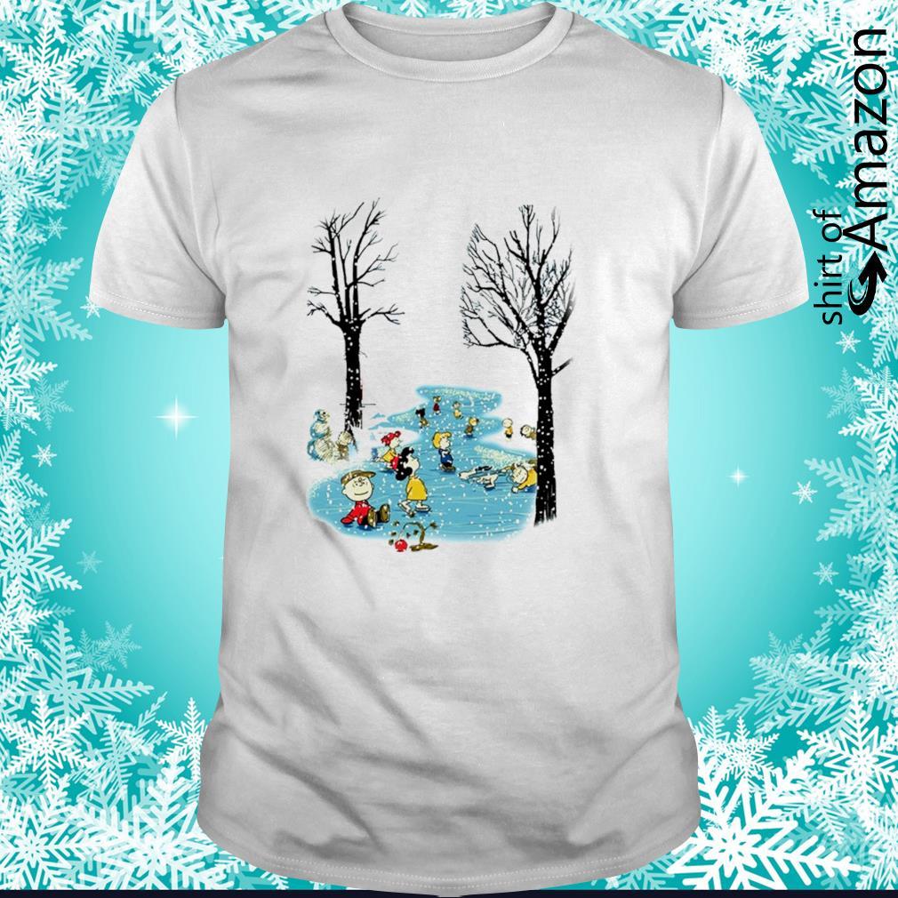 Peanuts characters skating Christmas shirt